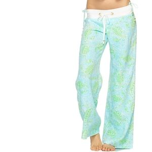 Lilly Pulitzer The Beach Pant Linen Wide Leg Blue